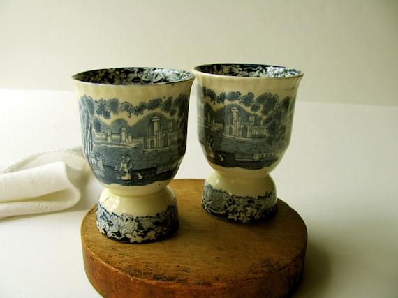 Vintage Egg Cups Mason S Blue Vista Original Set Double