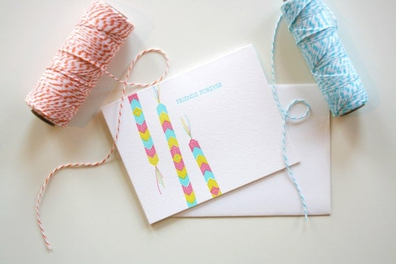 Letterpress Card - Friendship Bracelet Pink