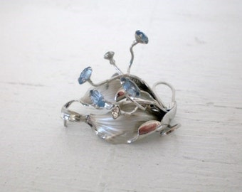 Vintage Articluated Brooch Blue Rhinestone Silver Tone Movable Wire Adjustable Vintage Mid Century Costume Jewelry