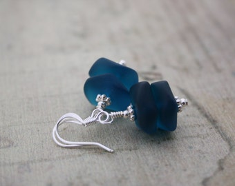 Teal Sea Glass Earrings, Seaglass Earrings, Beach Glass Earrings, Sea Glass Jewelry, Seaglass Jewelry Ocean Jewelry, Beach Wedding, Blue 090