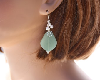 Green Sea Glass Earrings Seaglass Earrings Sea Glass Jewelry Wedding Earrings Bridal Earrings Bridesmaid Beach Jewelry Seaglass Jewelry 092