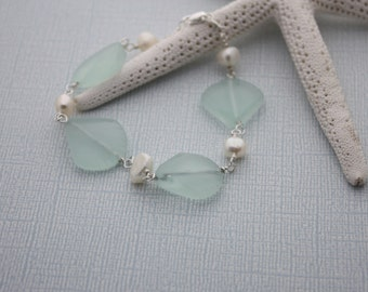 Sea Glass Bracelet Sea Glass Jewelry Beach Glass Jewelry Seaglass Jewelry Beach Glass Bracelet Wedding Jewelry Bridal Party Bridesmaid 029
