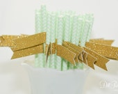 Mint Green & White Chevron Paper Straws with Gold Glitter Flags - 25 count
