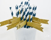 Navy Blue & White Stripe Paper Straws with Gold Glitter Flags - 25 count