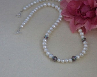 Eggshell White Pearl Necklace Accented With Czech Lampwork Beads  FREE SHIPPING