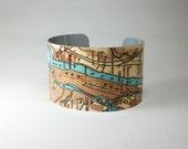 New York City Manhattan Brooklyn Map Cuff Bracelet Unique Gift