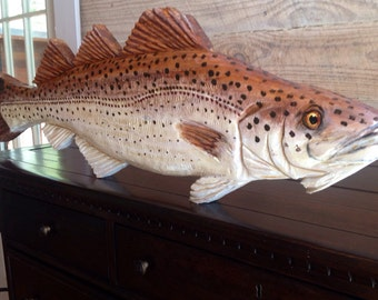 "Atlantic Cod 34"" chainsaw wooden fish carving Todd Lynd original home decor wall art nautical accent fishing retreat seaside sculpture art"