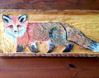 """Red Fox Framed Carving 30"""" detailed chainsaw distressed wood relief fox carving country cabin wall mount rustic home decor woodland art"""
