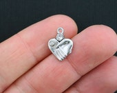 5 Hand in Hand Charms Antique Silver Tone with 2 Inset Rhinestones - SC3454