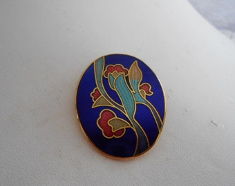 Vintage brooch, cloisonne enamel floral brooch, cobalt blue enamel brooch, vintage jewelry, flower brooch