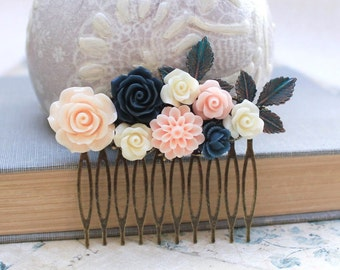 Flower Hair Comb Navy Blue Rose Floral Collage Wedding Hair Accessories Womens gift Branch Patina Leaves Peach Rose Dahlia Chrysanthemum