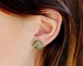 animal print stud earrings, fake plugs, leopard print, modern