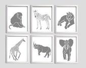 Nursery Art Zoo Jungle Safari Elephant Zebra Giraffe Lion Baboon Animals Gray set of 6
