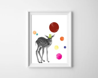Dapper Circus Deer Downloadable Print