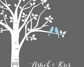 """Bridal Shower Gift - Personalized Love Birds Family Tree -  Custom Wedding or Paper First Anniversary Gift - 8""""x10"""" (You choose colors)"""