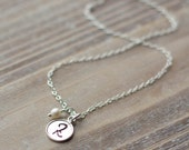 Tiny Initial Necklace - Sterling Silver - Handstamped Tiny Raised Edge Circle - Dainty Delicate Everyday Necklace - Valentine's Day Gift