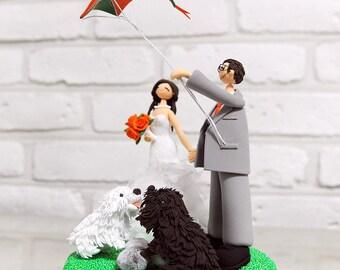 Flying kite couple custom wedding cake topper gift decoration