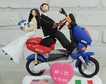 Custom Cake Topper -Cute couple on the motorcycle-
