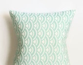 Mint Scallop Pillow Cover - Mint and White Pillow Cover - 18 x 18 - Coastal Chic