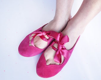 Heart Shaped Soft Magenta Handmade Ballet Flats