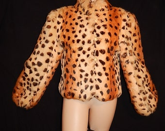 Meow - Stunning vintage 70's dyed rabbit fur leopard jacket cheetah print bombshell balloon sleeves cream satin lining made in Hong Kong - L