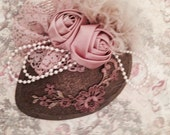 Vintage Inspired Teardrop Hat...Bronze and Dusty Rose.. Lace and Feather Fasinator,Wedding Hat