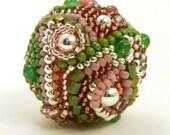 Focal Beaded Bead - Crazy Quilt Beaded Bead by Sharri Moroshok