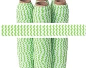 Lime and White Chevron - Fold Over Elastic - 5 YARDS