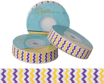 Purple and Yellow Chevron - Fold Over Elastic - 5 YARDS