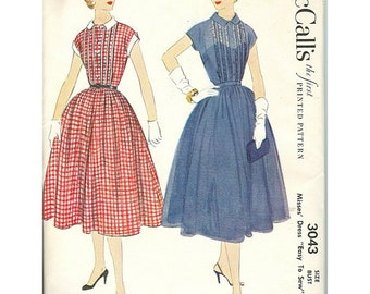 McCalls 3043 1950s Vintage Easy To Sew Day Dress