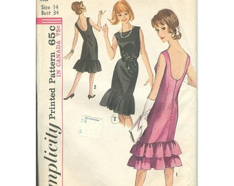 Vintage Sewing Pattern Simplicity 5817 Flirty 1960s Cocktail Dress