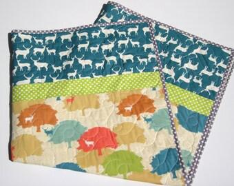 Elk Grove Baby Quilt, Boy or Girl Blanket, All Natural Organic, Orange Chevron, Teal  Blue Green, Elk Wildlife Outdoors, Trees Woodlands
