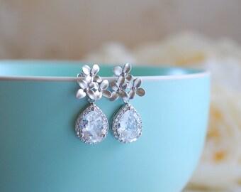 Silver Post Earrings, Silver Cherry Blossoms Flower Teardrop Clear Crystal Cubic Zirconia Post Earrings, Wedding Jewelry Bridal Earrings
