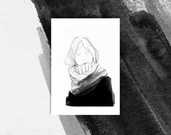 Winter girl - black and white print - wall decor - art print -  Girl iIllustration print - wall art print - b&w print