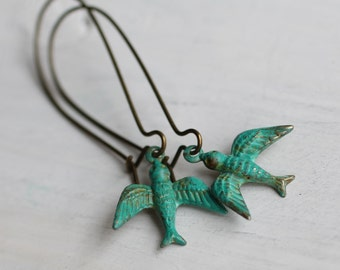 Swallow Bird Earrings ... Turquoise Green Handpainted Verdigris Vintage