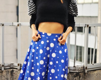 vintage midi A-line below knee pleated flared blue skirt with white dots / pure cotton flare skirt