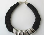 Black statement necklace - rope necklace - braided necklace