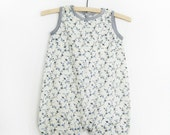 Sale - Baby Girl Summer Romper- Grey and Blue Flowers on White