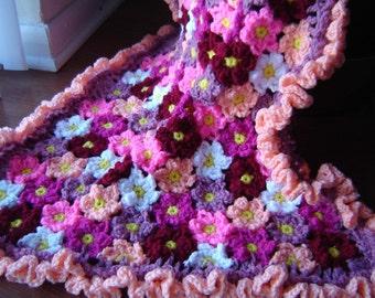 PDF Instant Download Crochet PATTERN No 272  Flower Baby blanket  afghan  throw