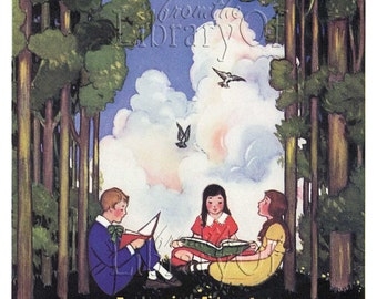 There is Always a Dreamer - ADHESIVE Personalized Bookplates - Trees, Sky, Kids Reading