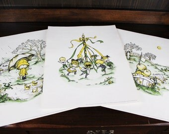 Vintage Collection of Joan Walsh Anglund Sampler - 3  Prints  from Spring is a New Beginning - 1963