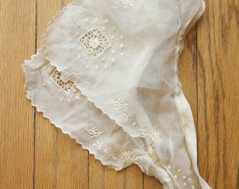 Antique 1920's Sheer Cream Embroidered Cut Out Dress Collar