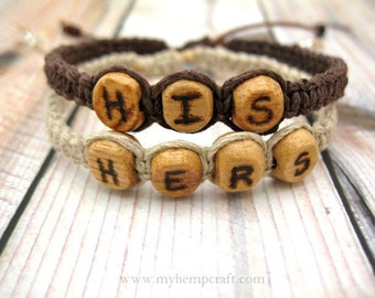 Custom His/Hers Bracelets, Personalized Couples Hemp Bracelets, Choose Your Letters and Colors