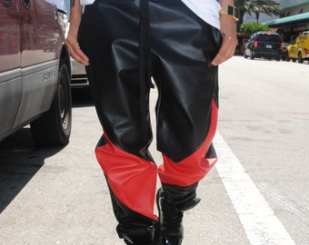 Black and Red Symmetrical Leather Joggers / Mens Joggers by GAG THREADS