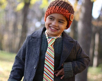 boy hat   Warm crocheted hat   baby to adult   textured button up beanie   pumpkin gold brown with handmade wooden button   baby hat  