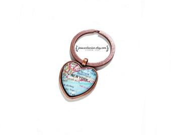 New York City Heart Map Keychain