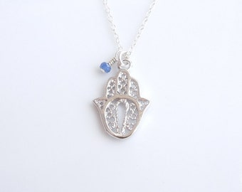 Silver Hamsa Necklace with Blue Sapphire