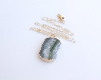 Green Amethyst Druzy Necklace - OOAK Jewelry
