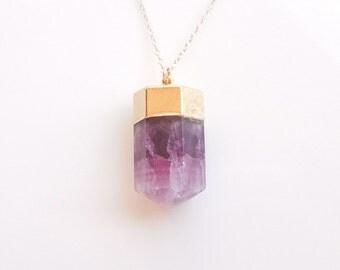 Fluorite Necklace in Plum Purple - OOAK Jewelry
