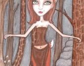 Red deer, big eyes girl, print, runes, forest, magic, enchanted, antlers, satyr, redhead